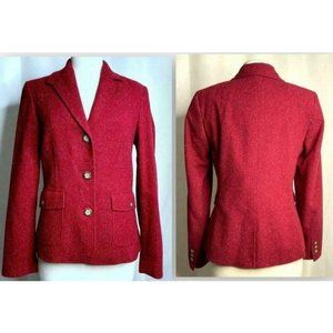 LL Bean Red Fleck 3 Button Lined Blazer Jacket